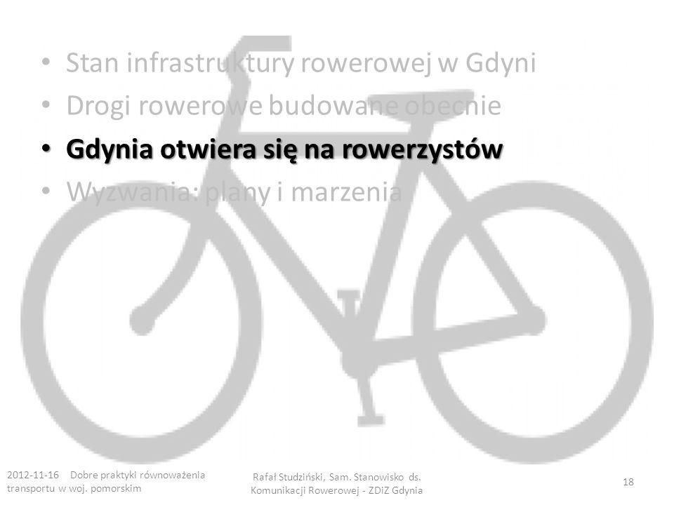 Stan infrastruktury rowerowej w Gdyni Drogi rowerowe budowane obecnie Gdynia otwiera się na rowerzystów Gdynia otwiera się na rowerzystów Wyzwania: plany i marzenia 2012-11-16 Dobre praktyki równoważenia transportu w woj.