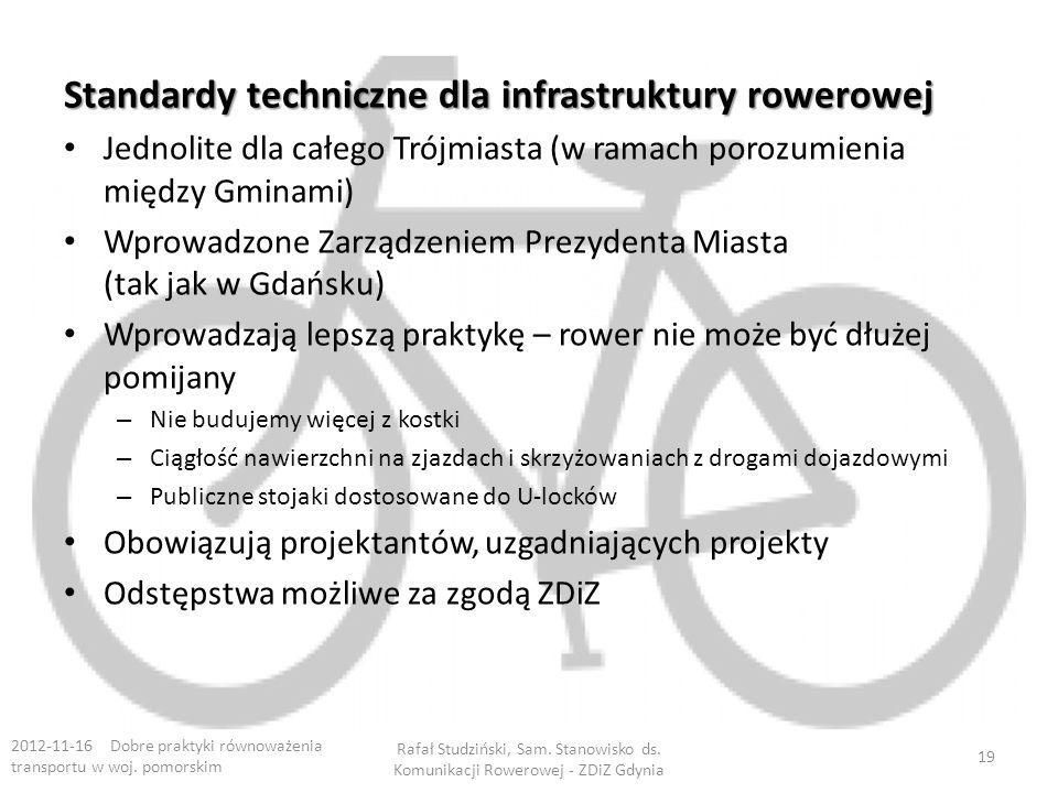 Standardy techniczne dla infrastruktury rowerowej Jednolite dla całego Trójmiasta (w ramach porozumienia między Gminami) Wprowadzone Zarządzeniem Prezydenta Miasta (tak jak w Gdańsku) Wprowadzają lepszą praktykę – rower nie może być dłużej pomijany – Nie budujemy więcej z kostki – Ciągłość nawierzchni na zjazdach i skrzyżowaniach z drogami dojazdowymi – Publiczne stojaki dostosowane do U-locków Obowiązują projektantów, uzgadniających projekty Odstępstwa możliwe za zgodą ZDiZ 2012-11-16 Dobre praktyki równoważenia transportu w woj.