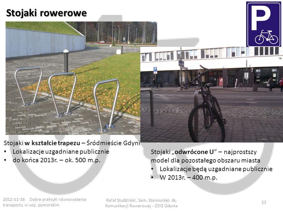Stojaki rowerowe 2012-11-16 Dobre praktyki równoważenia transportu w woj. pomorskim Rafał Studziński, Sam. Stanowisko ds. Komunikacji Rowerowej - ZDiZ