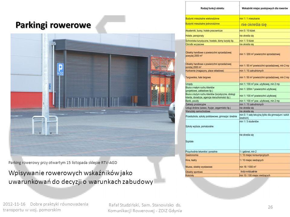 Parkingi rowerowe 2012-11-16 Dobre praktyki równoważenia transportu w woj.