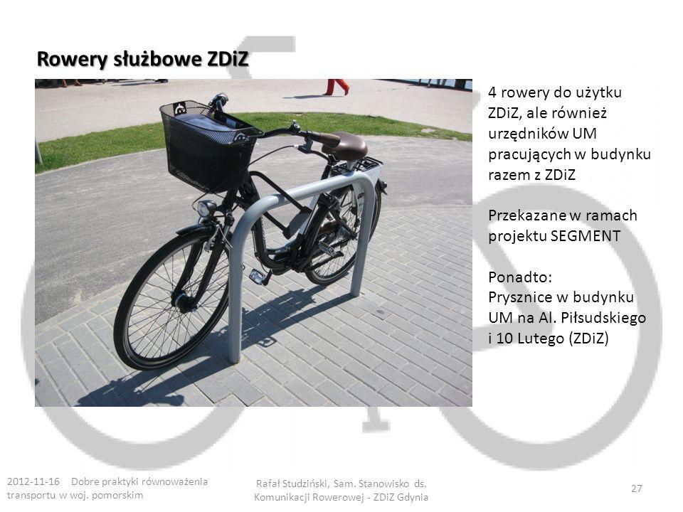 Rowery służbowe ZDiZ 2012-11-16 Dobre praktyki równoważenia transportu w woj.