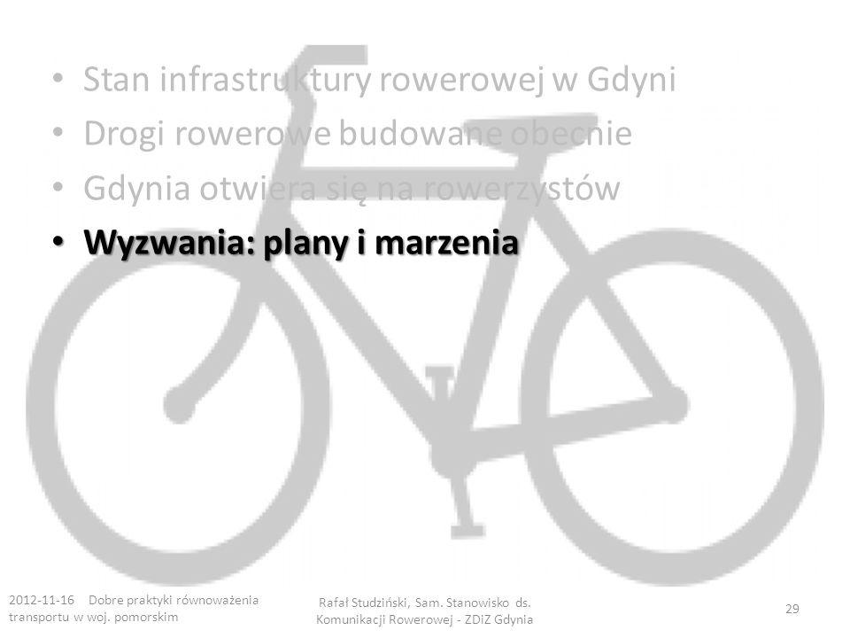 Stan infrastruktury rowerowej w Gdyni Drogi rowerowe budowane obecnie Gdynia otwiera się na rowerzystów Wyzwania: plany i marzenia Wyzwania: plany i marzenia 2012-11-16 Dobre praktyki równoważenia transportu w woj.