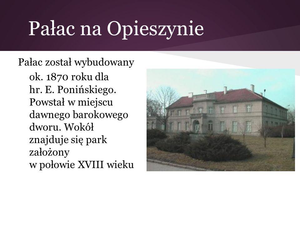 Pałac na Opieszynie Pałac został wybudowany ok. 1870 roku dla hr. E. Ponińskiego. Powstał w miejscu dawnego barokowego dworu. Wokół znajduje się park