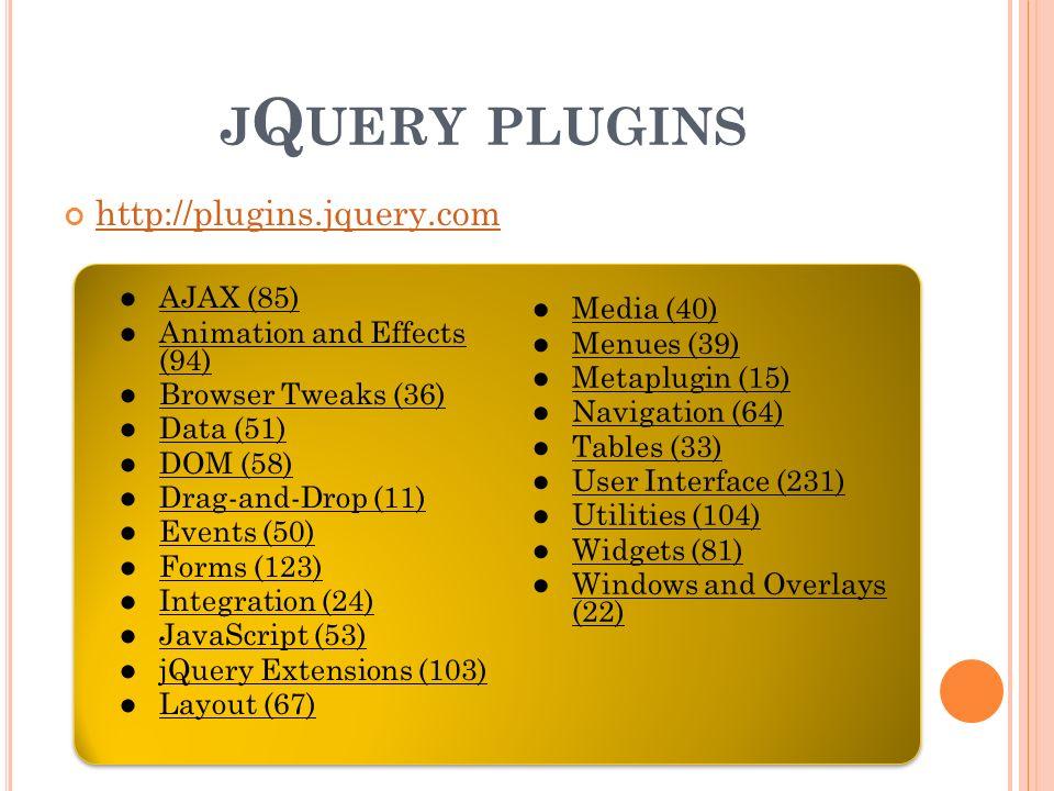 J Q UERY PLUGINS http://plugins.jquery.com