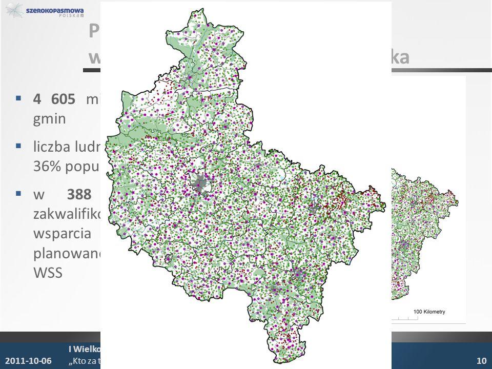 POIG 8.4 wykaz miejscowości - Wielkopolska 4 605 miejscowości z 204 gmin liczba ludności – 1,2 mln, ok. 36% populacji Wielkopolski w 388 miejscowościa