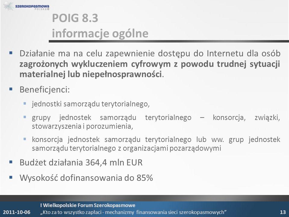 POIG 8.3 informacje ogólne Działanie ma na celu zapewnienie dostępu do Internetu dla osób zagrożonych wykluczeniem cyfrowym z powodu trudnej sytuacji materialnej lub niepełnosprawności.