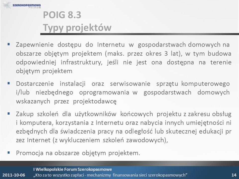 POIG 8.3 Typy projektów Zapewnienie dostępu do Internetu w gospodarstwach domowych na obszarze objętym projektem (maks.