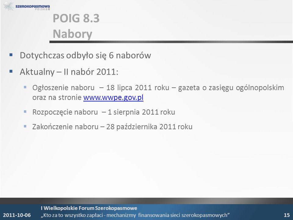 POIG 8.3 Nabory Dotychczas odbyło się 6 naborów Aktualny – II nabór 2011: Ogłoszenie naboru – 18 lipca 2011 roku – gazeta o zasięgu ogólnopolskim oraz