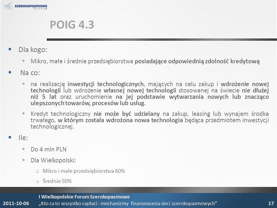 POIG 4.3 Dla kogo: Mikro, małe i średnie przedsiębiorstwa posiadające odpowiednią zdolność kredytową Na co: na realizację inwestycji technologicznych,