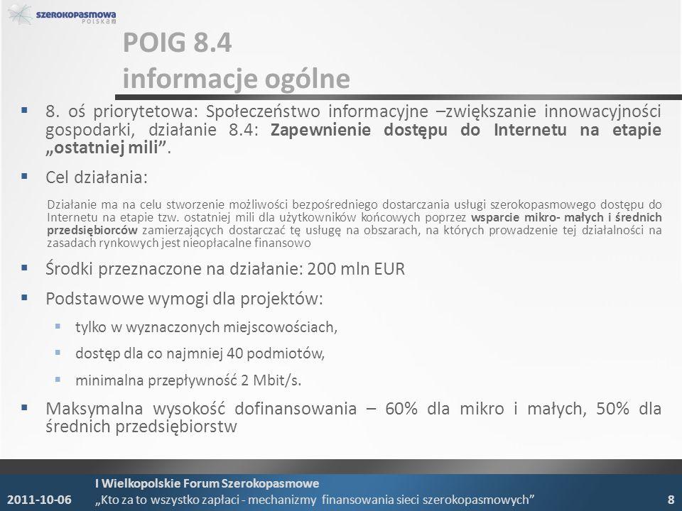 POIG 8.4 wykaz miejscowości 20.09.2011 UKE udostępniło nowy wykaz miejscowości kwalifikujących się do wsparcia w ramach działania POIG 8.4: miejscowości, w których poziom nasycenia usługami szerokopasmowego dostępu do Internetu o przepustowości min.