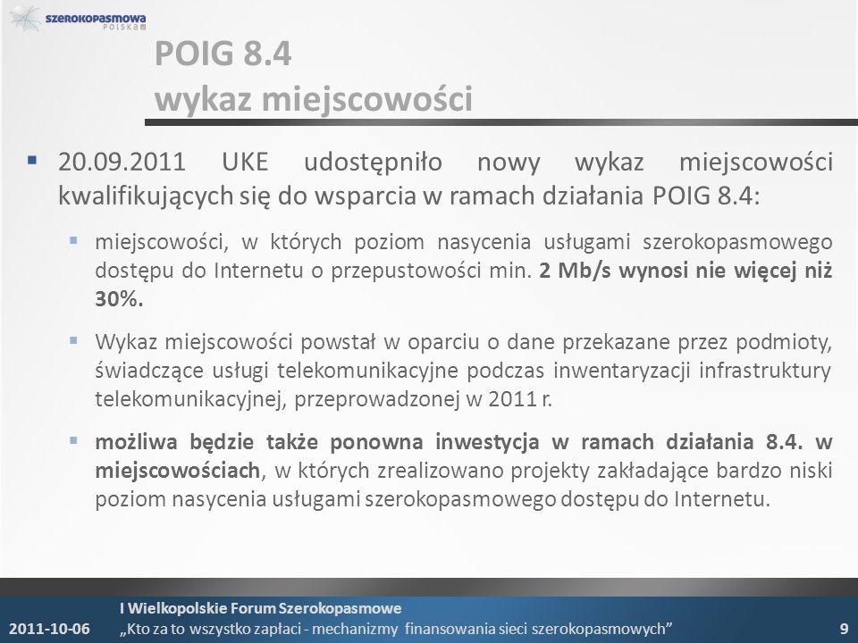 POIG 8.4 wykaz miejscowości 20.09.2011 UKE udostępniło nowy wykaz miejscowości kwalifikujących się do wsparcia w ramach działania POIG 8.4: miejscowoś