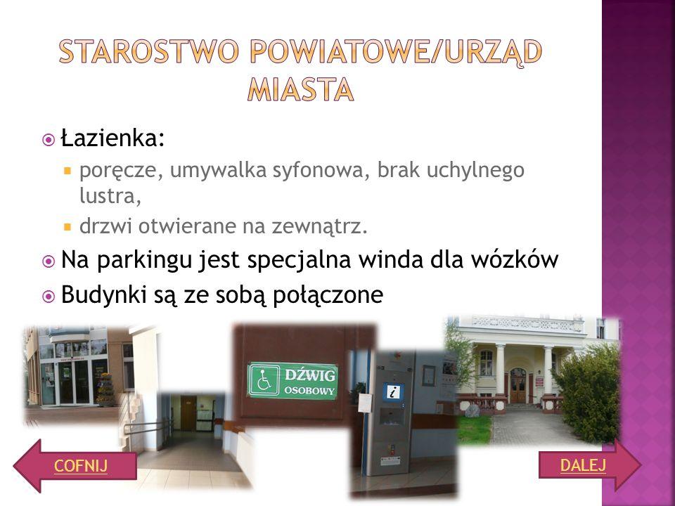 PKO BANK POLSKI: bez problemu można wjechać do banku i korzystać z kas bankowych bankomat nieprzystosowany szerokość wejścia wynosi 98 cm BANK PKO S.A