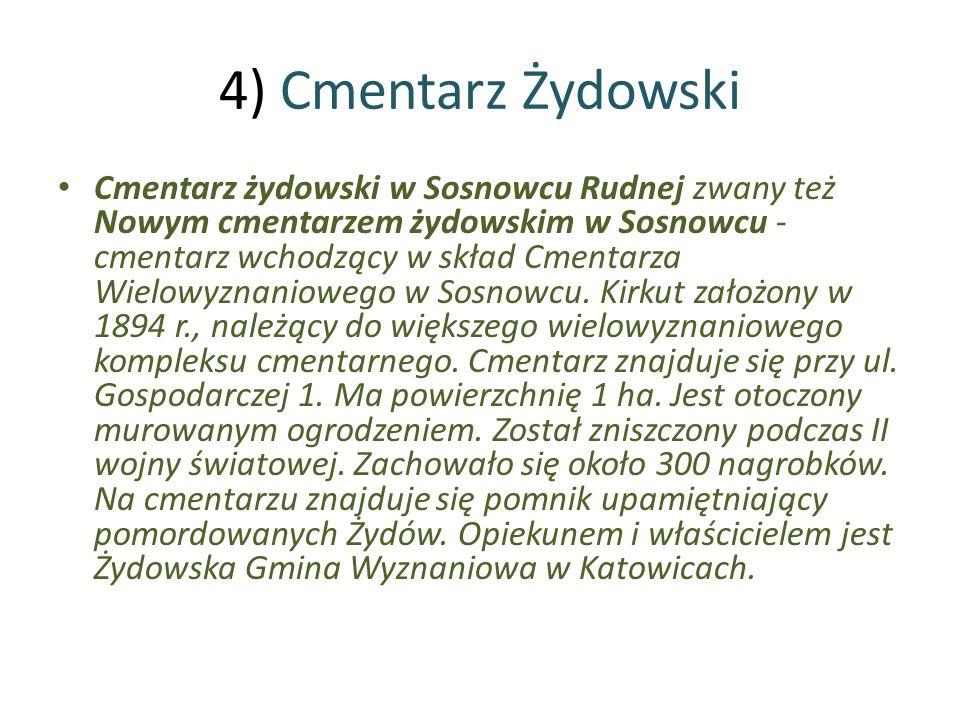 4) Cmentarz Żydowski Cmentarz żydowski w Sosnowcu Rudnej zwany też Nowym cmentarzem żydowskim w Sosnowcu - cmentarz wchodzący w skład Cmentarza Wielow