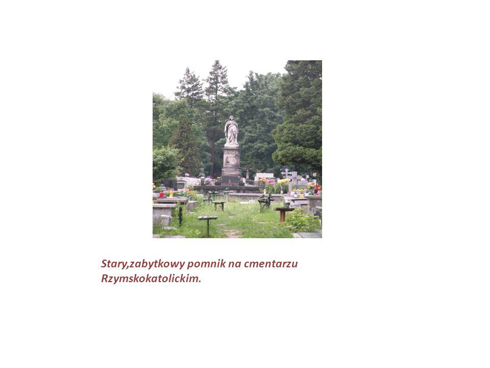 Stary,zabytkowy pomnik na cmentarzu Rzymskokatolickim.