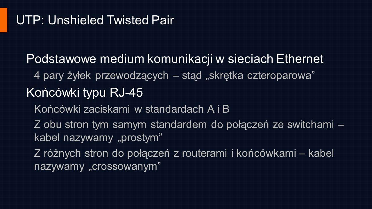 UTP: Unshieled Twisted Pair Podstawowe medium komunikacji w sieciach Ethernet 4 pary żyłek przewodzących – stąd skrętka czteroparowa Końcówki typu RJ-
