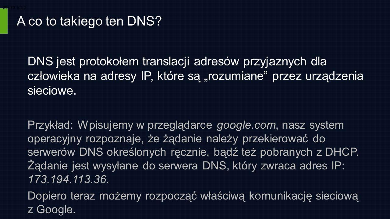 A co to takiego ten DNS? DNS jest protokołem translacji adresów przyjaznych dla człowieka na adresy IP, które są rozumiane przez urządzenia sieciowe.