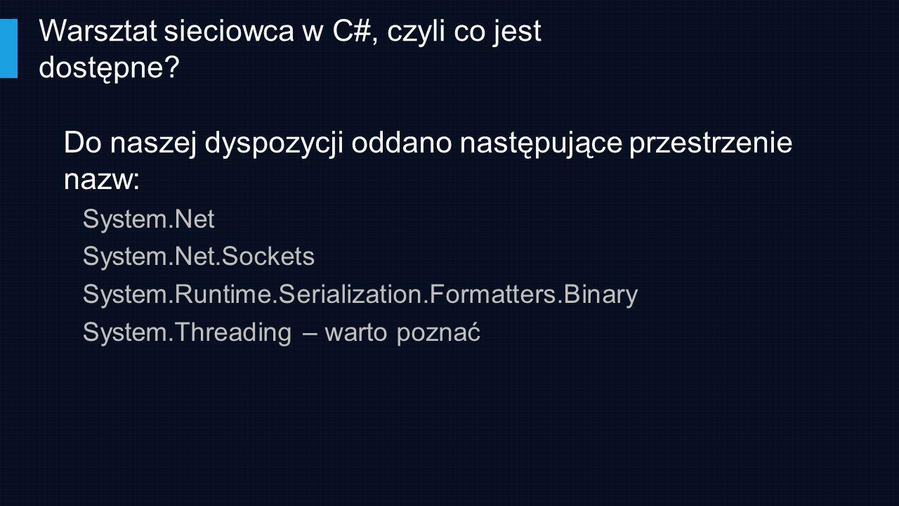 Do naszej dyspozycji oddano następujące przestrzenie nazw: System.Net System.Net.Sockets System.Runtime.Serialization.Formatters.Binary System.Threadi