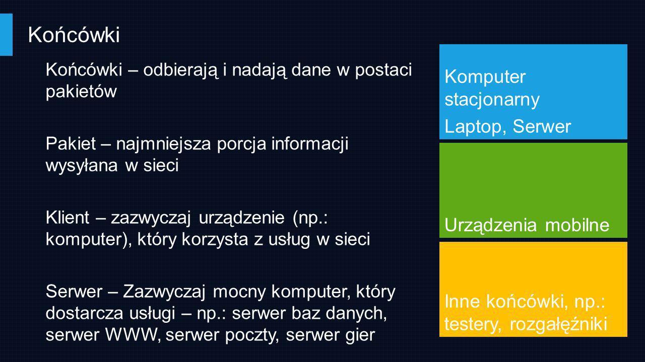 Końcówki Końcówki – odbierają i nadają dane w postaci pakietów Pakiet – najmniejsza porcja informacji wysyłana w sieci Klient – zazwyczaj urządzenie (