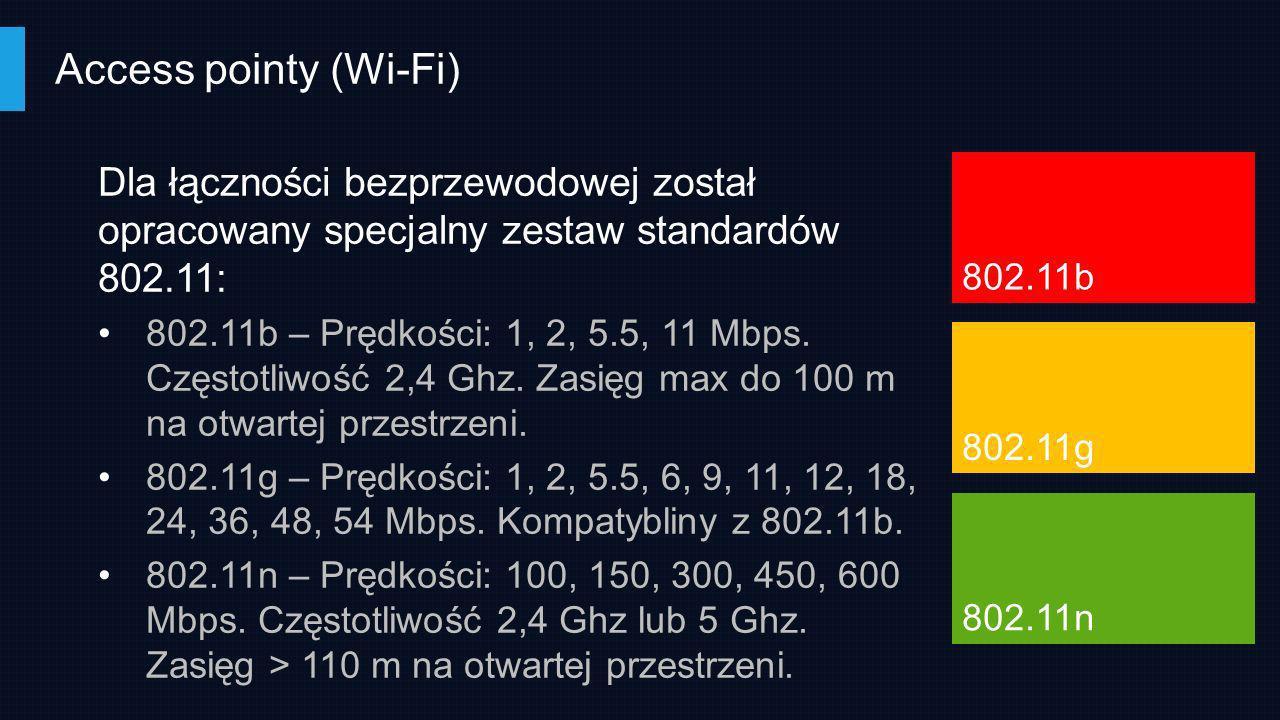Access pointy (Wi-Fi) Dla łączności bezprzewodowej został opracowany specjalny zestaw standardów 802.11: 802.11b – Prędkości: 1, 2, 5.5, 11 Mbps. Częs