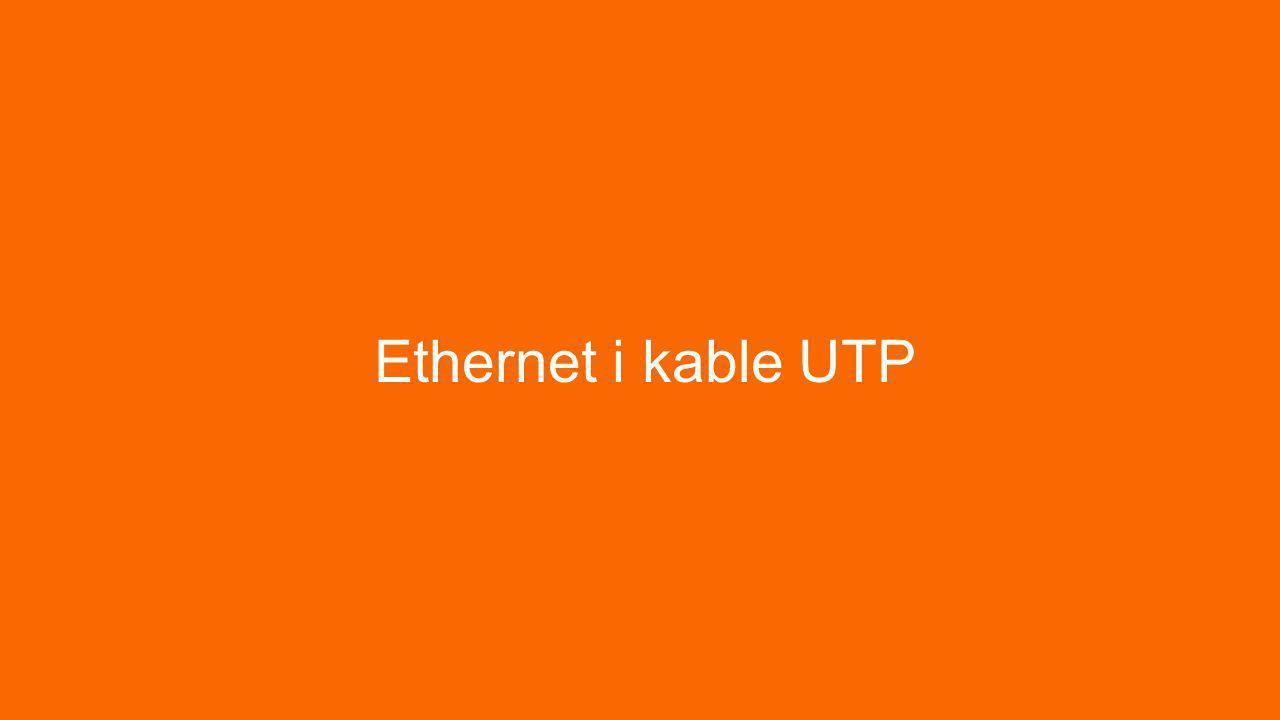 UTP: Unshieled Twisted Pair Podstawowe medium komunikacji w sieciach Ethernet 4 pary żyłek przewodzących – stąd skrętka czteroparowa Końcówki typu RJ-45 Końcówki zaciskami w standardach A i B Z obu stron tym samym standardem do połączeń ze switchami – kabel nazywamy prostym Z różnych stron do połączeń z routerami i końcówkami – kabel nazywamy crossowanym