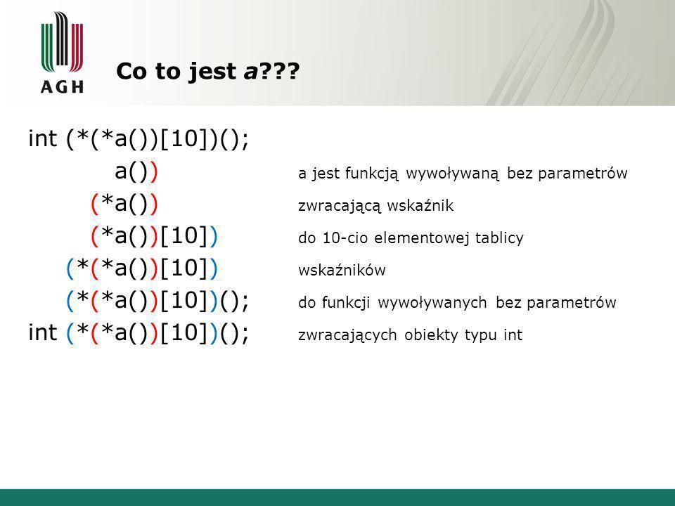 Co to jest a??? int (*(*a())[10])(); int (*(*a())[10])(); a jest funkcją wywoływaną bez parametrów int (*(*a())[10])(); zwracającą wskaźnik int (*(*a(