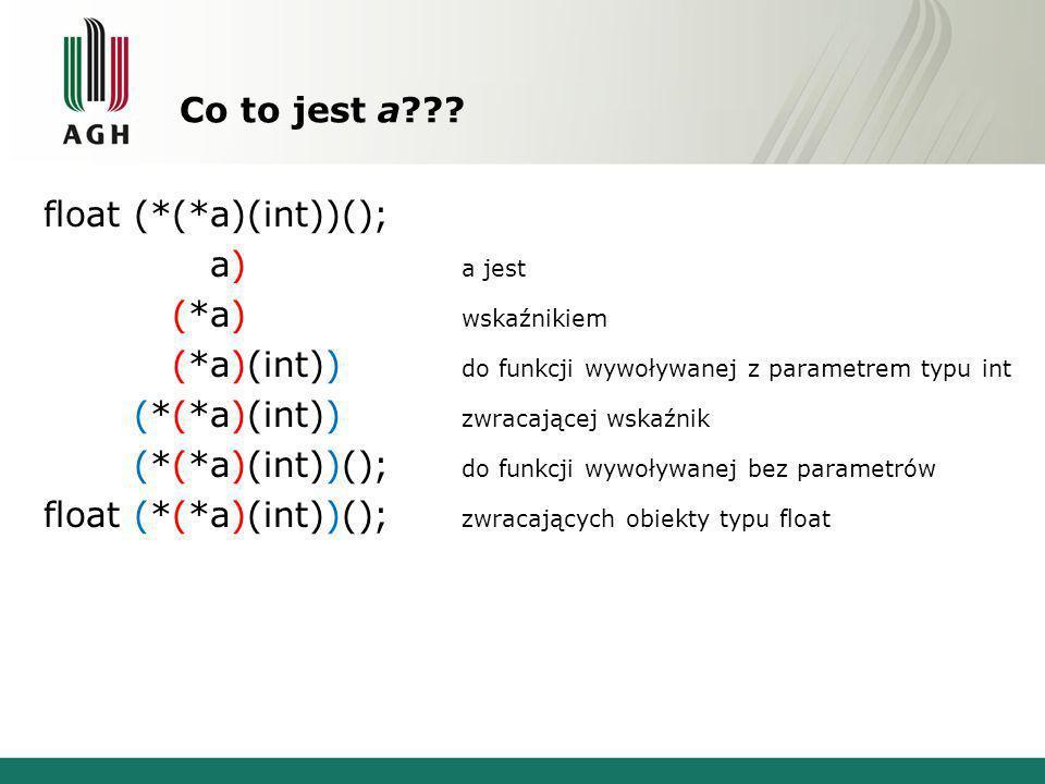Co to jest a??? float (*(*a)(int))(); float (*(*a)(int))(); a jest float (*(*a)(int))(); wskaźnikiem float (*(*a)(int))(); do funkcji wywoływanej z pa