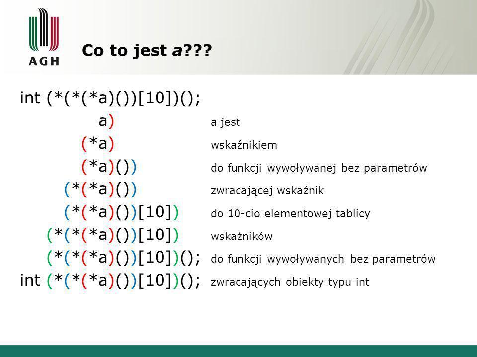 Co to jest a??? int (*(*(*a)())[10])(); int (*(*(*a)())[10])(); a jest int (*(*(*a)())[10])(); wskaźnikiem int (*(*(*a)())[10])(); do funkcji wywoływa