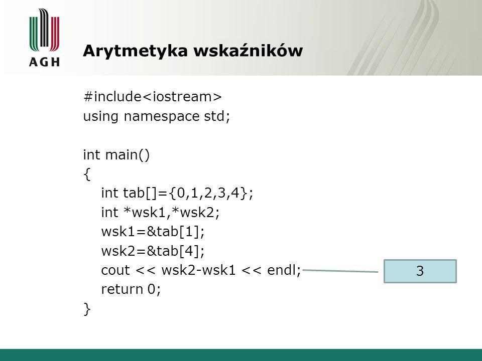 Arytmetyka wskaźników #include using namespace std; int main() { int tab[]={0,1,2,3,4}; int *wsk1,*wsk2; wsk1=&tab[1]; wsk2=&tab[4]; cout << wsk2-wsk1 << endl; return 0; } 3