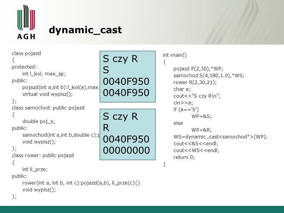dynamic_cast class pojazd { protected: int l_kol, max_sp; public: pojazd(int a,int b):l_kol(a),max_sp(b){} virtual void wypisz(); }; class samochod: public pojazd { double poj_s; public: samochod(int a,int b,double c):pojazd(a,b), poj_s(c){} void wypisz(); }; class rower: public pojazd { int li_prze; public: rower(int a, int b, int c):pojazd(a,b), li_prze(c){} void wypisz(); }; int main() { pojazd P(2,30),*WP; samochod S(4,180,1.9),*WS; rower R(2,30,21); char a; cout<< S czy R\n ; cin>>a; if (a== S ) WP=&S; else WP=&R; WS=dynamic_cast (WP); cout<<&S<<endl; cout<<WS<<endl; return 0; } S czy R S 0040F950 S czy R R 0040F950 00000000