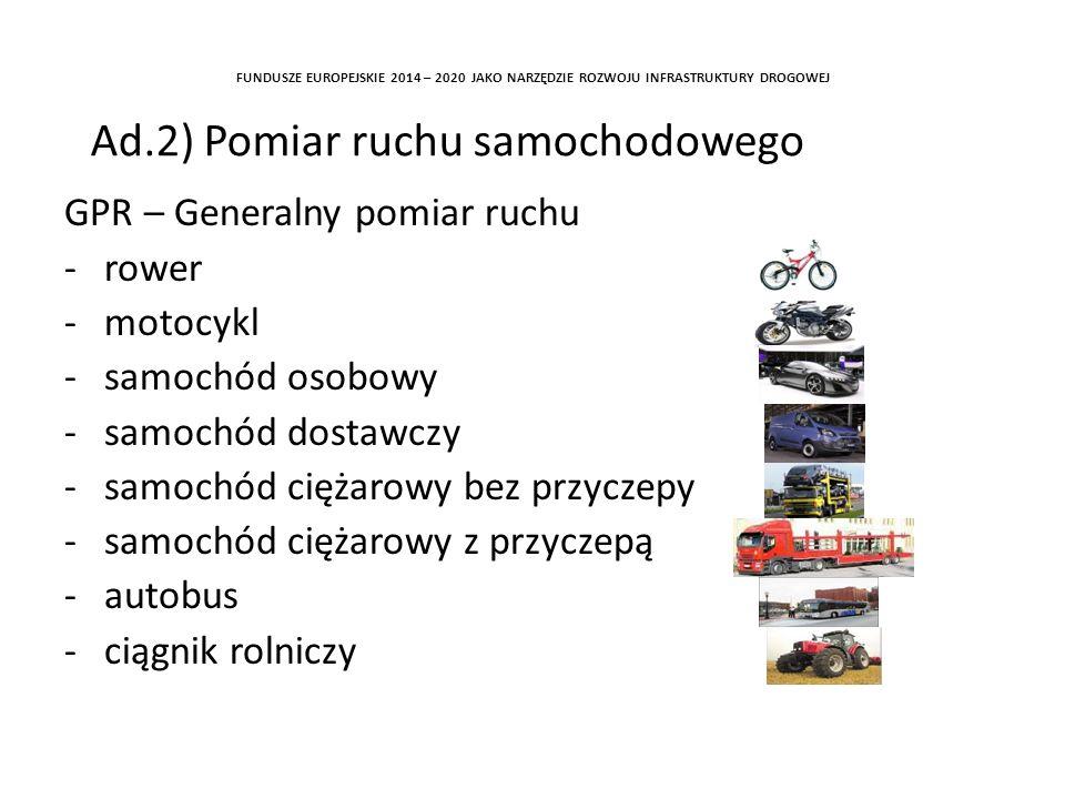 GPR – Generalny pomiar ruchu -rower -motocykl -samochód osobowy -samochód dostawczy -samochód ciężarowy bez przyczepy -samochód ciężarowy z przyczepą -autobus -ciągnik rolniczy FUNDUSZE EUROPEJSKIE 2014 – 2020 JAKO NARZĘDZIE ROZWOJU INFRASTRUKTURY DROGOWEJ Ad.2) Pomiar ruchu samochodowego