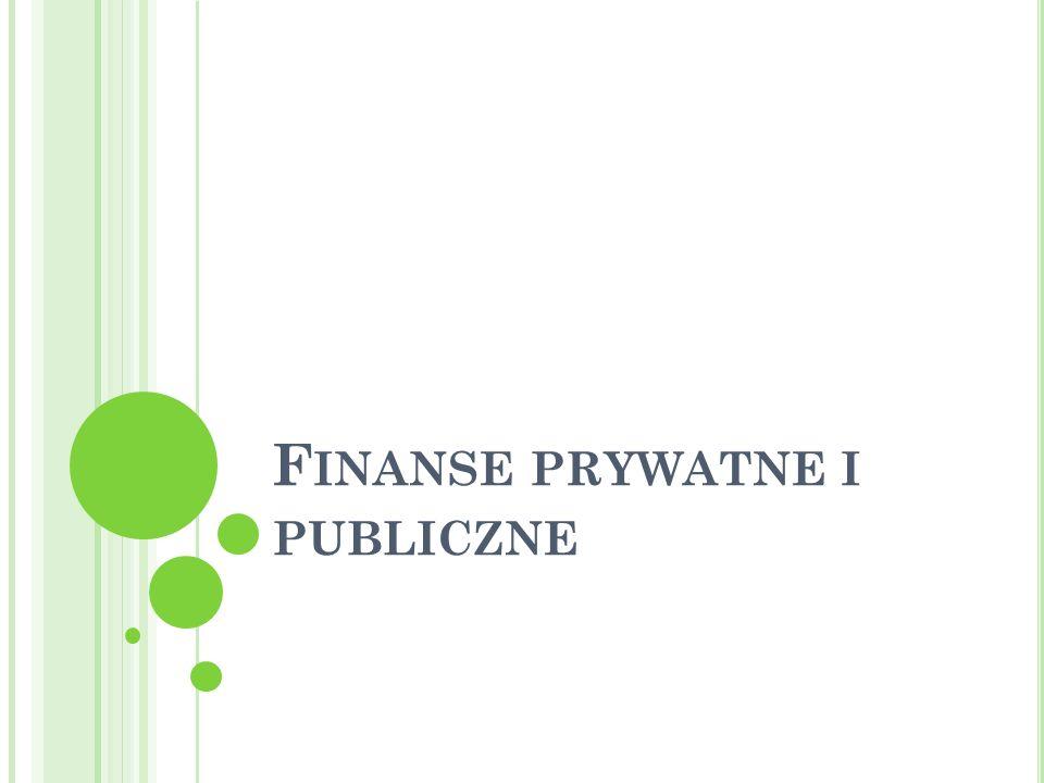 P LAN WYKŁADU : Finanse prywatne Finanse publiczne publiczne Podstawowe problemy w gospodarce