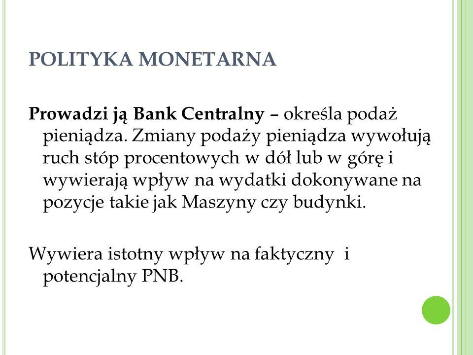 POLITYKA MONETARNA Prowadzi ją Bank Centralny – określa podaż pieniądza. Zmiany podaży pieniądza wywołują ruch stóp procentowych w dół lub w górę i wy