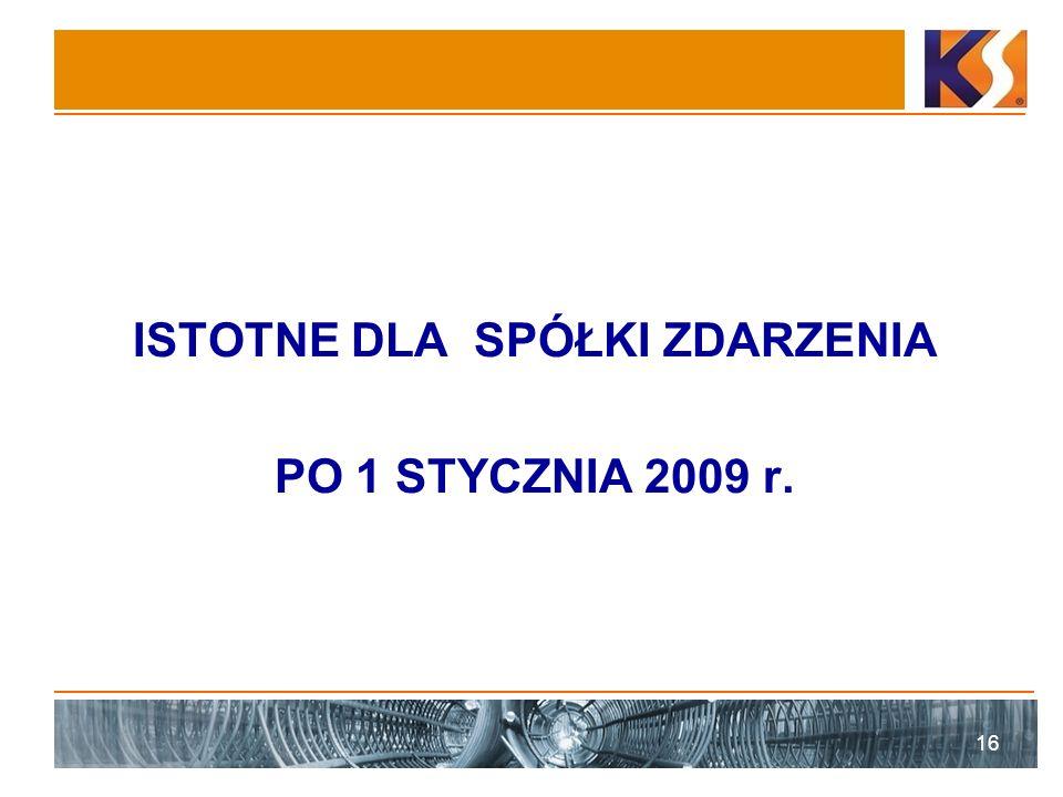 ISTOTNE DLA SPÓŁKI ZDARZENIA PO 1 STYCZNIA 2009 r. 16