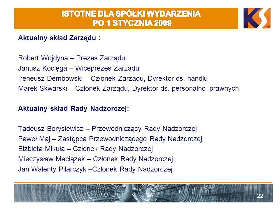 Aktualny skład Zarządu : Robert Wojdyna – Prezes Zarządu Janusz Koclęga – Wiceprezes Zarządu Ireneusz Dembowski – Członek Zarządu, Dyrektor ds.