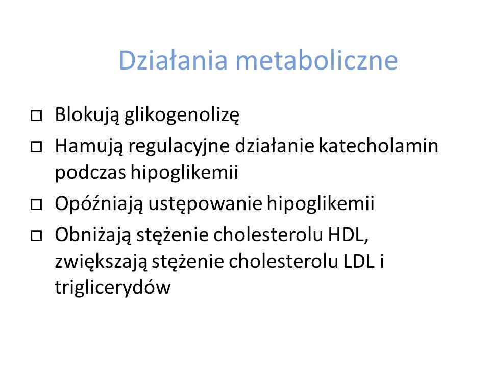 Działania metaboliczne Blokują glikogenolizę Hamują regulacyjne działanie katecholamin podczas hipoglikemii Opóźniają ustępowanie hipoglikemii Obniżaj