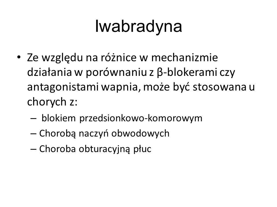 Iwabradyna Ze względu na różnice w mechanizmie działania w porównaniu z β-blokerami czy antagonistami wapnia, może być stosowana u chorych z: – blokie