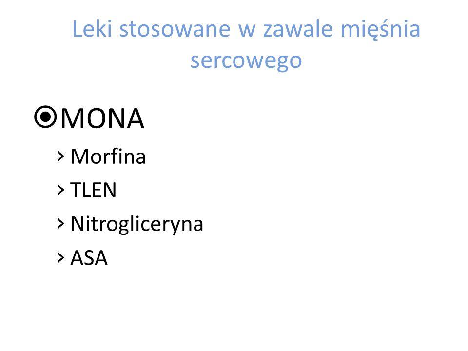 Leki stosowane w zawale mięśnia sercowego MONA Morfina TLEN Nitrogliceryna ASA