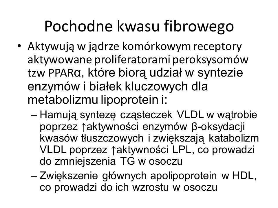 Pochodne kwasu fibrowego Aktywują w jądrze komórkowym receptory aktywowane proliferatorami peroksysomów tzw PPAR α, które biorą udział w syntezie enzy