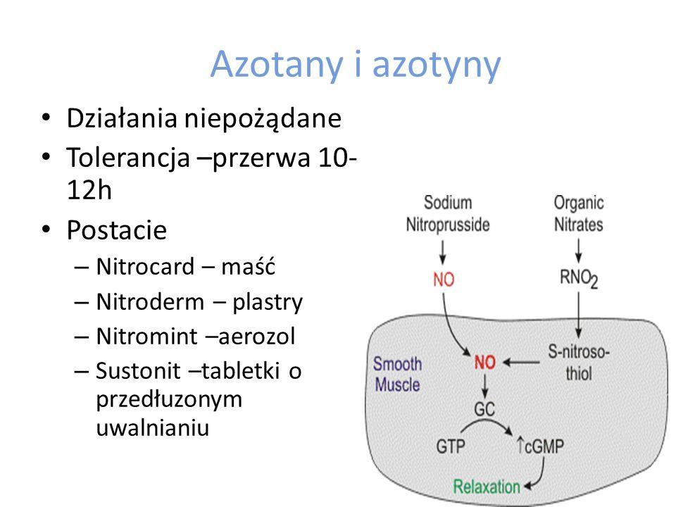 Azotany i azotyny Działania niepożądane Tolerancja –przerwa 10- 12h Postacie – Nitrocard – maść – Nitroderm – plastry – Nitromint –aerozol – Sustonit