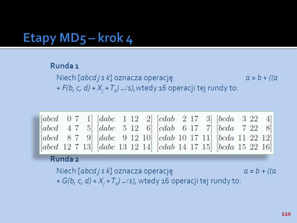 110 Runda 1 Niech [abcd j s k] oznacza operację a = b + ((a + F(b, c, d) + X j + T k ) s),wtedy 16 operacji tej rundy to: Runda 2 Niech [abcd j s k] o