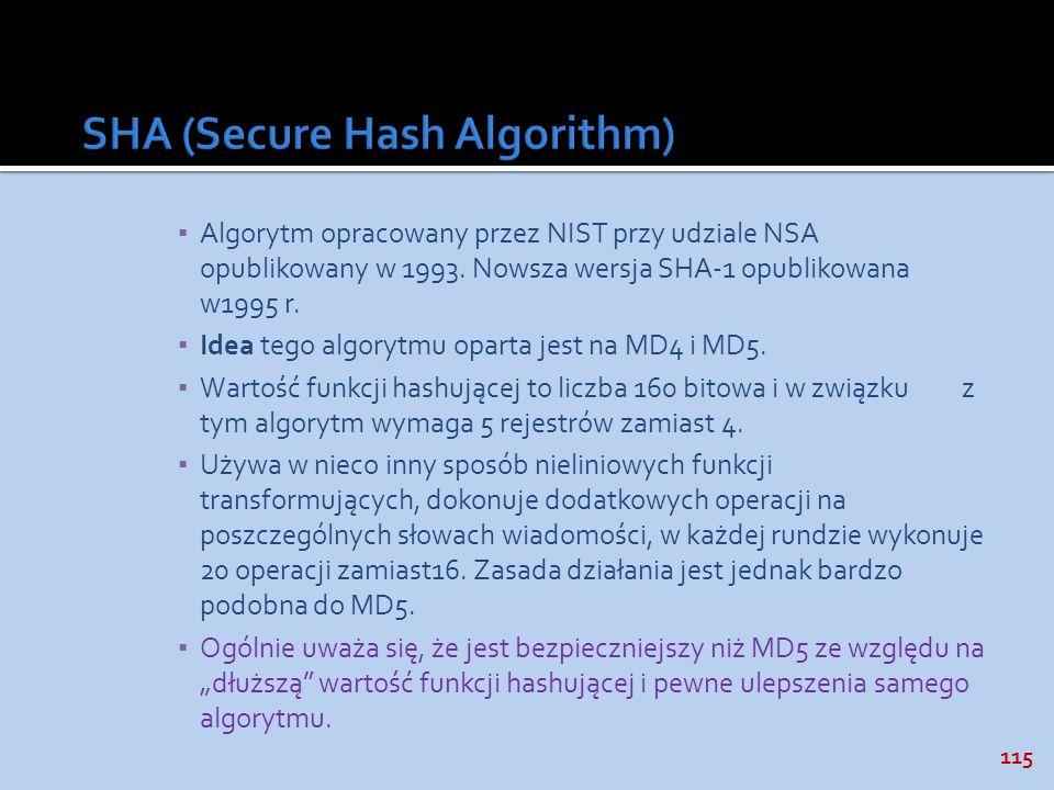115 Algorytm opracowany przez NIST przy udziale NSA opublikowany w 1993. Nowsza wersja SHA-1 opublikowana w1995 r. Idea tego algorytmu oparta jest na