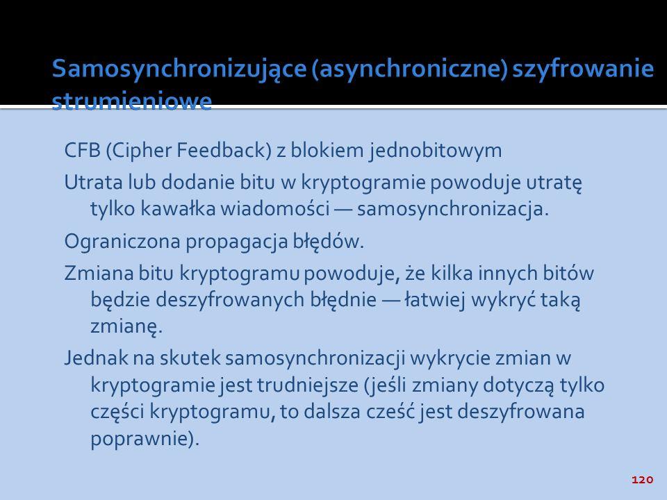 120 CFB (Cipher Feedback) z blokiem jednobitowym Utrata lub dodanie bitu w kryptogramie powoduje utratę tylko kawałka wiadomości samosynchronizacja. O