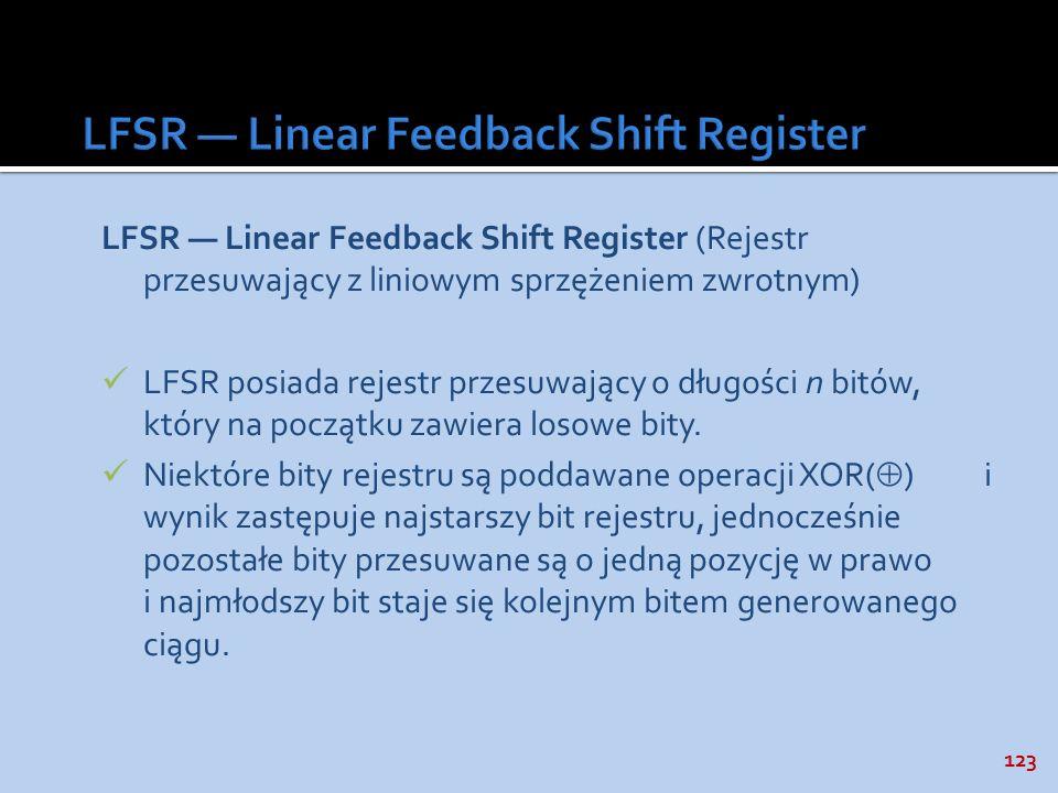 123 LFSR Linear Feedback Shift Register (Rejestr przesuwający z liniowym sprzężeniem zwrotnym) LFSR posiada rejestr przesuwający o długości n bitów, k