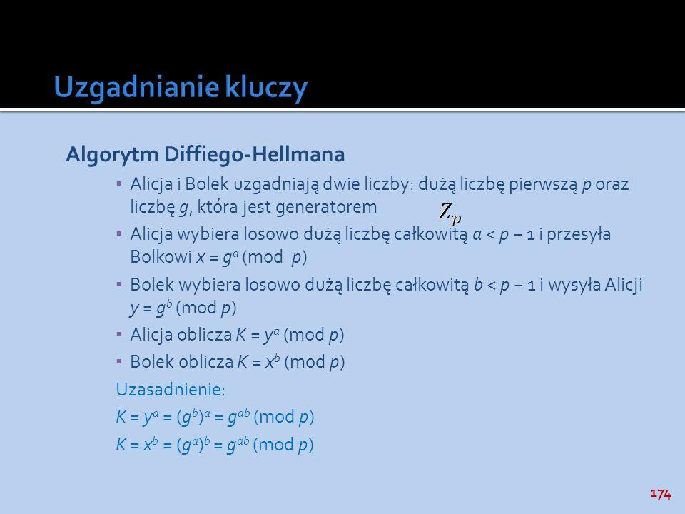 174 Algorytm Diffiego-Hellmana Alicja i Bolek uzgadniają dwie liczby: dużą liczbę pierwszą p oraz liczbę g, która jest generatorem Alicja wybiera loso