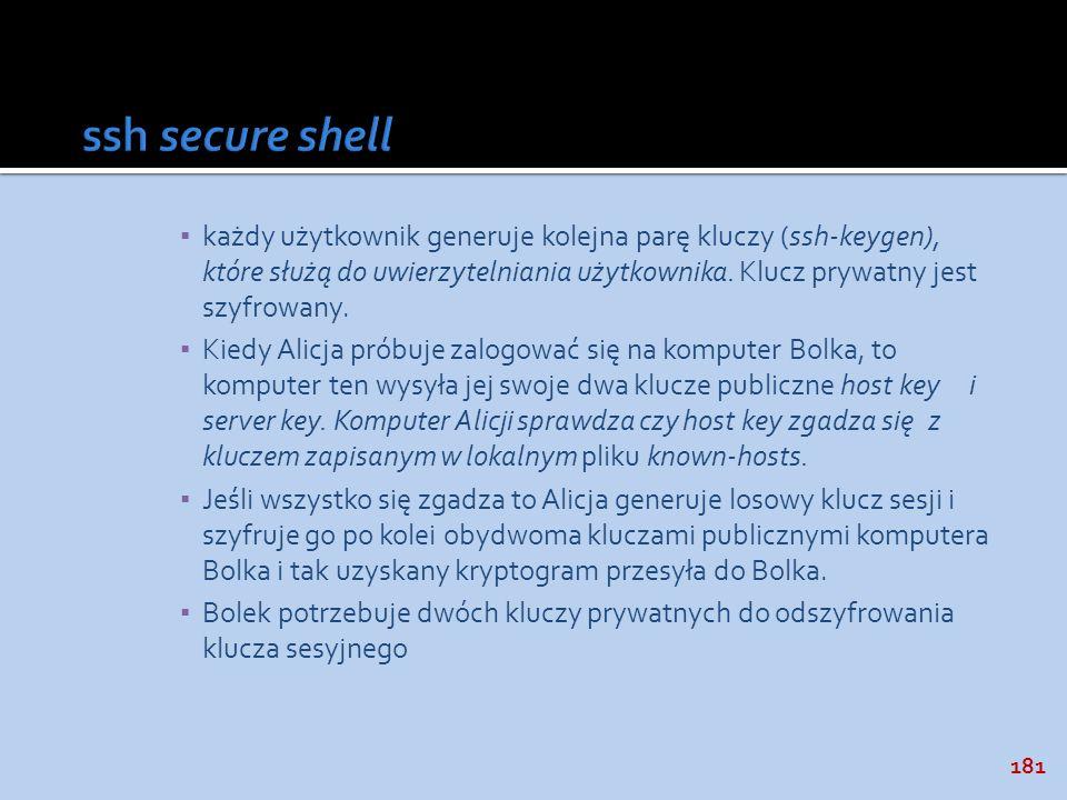 181 każdy użytkownik generuje kolejna parę kluczy (ssh-keygen), które służą do uwierzytelniania użytkownika. Klucz prywatny jest szyfrowany. Kiedy Ali