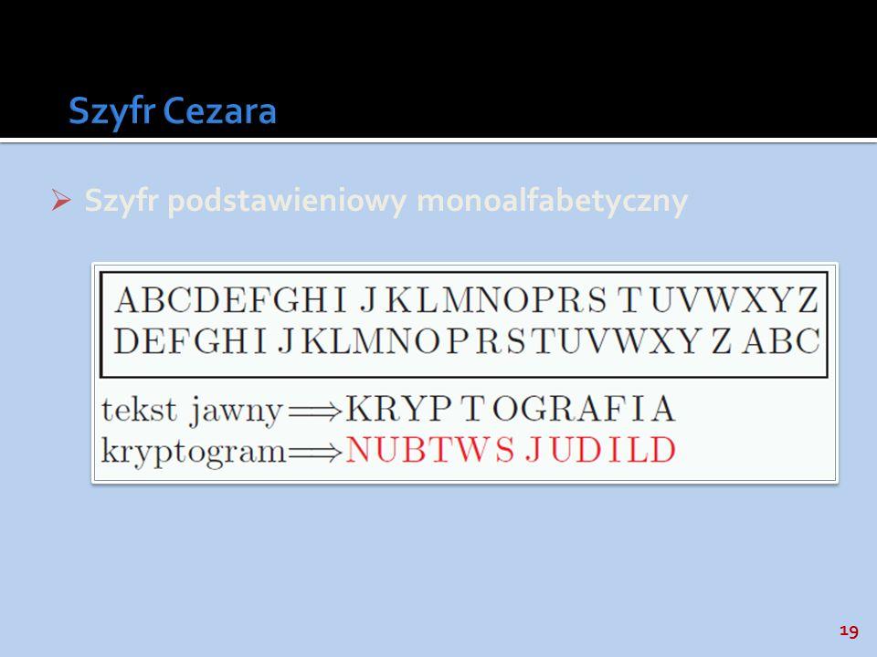19 Szyfr podstawieniowy monoalfabetyczny