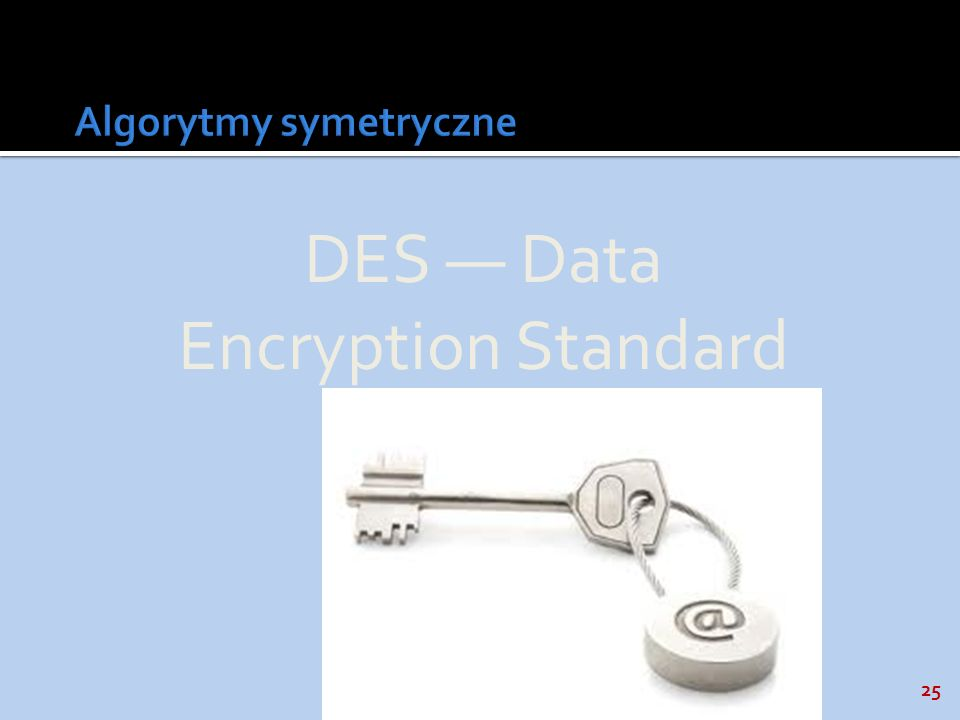 25 DES Data Encryption Standard
