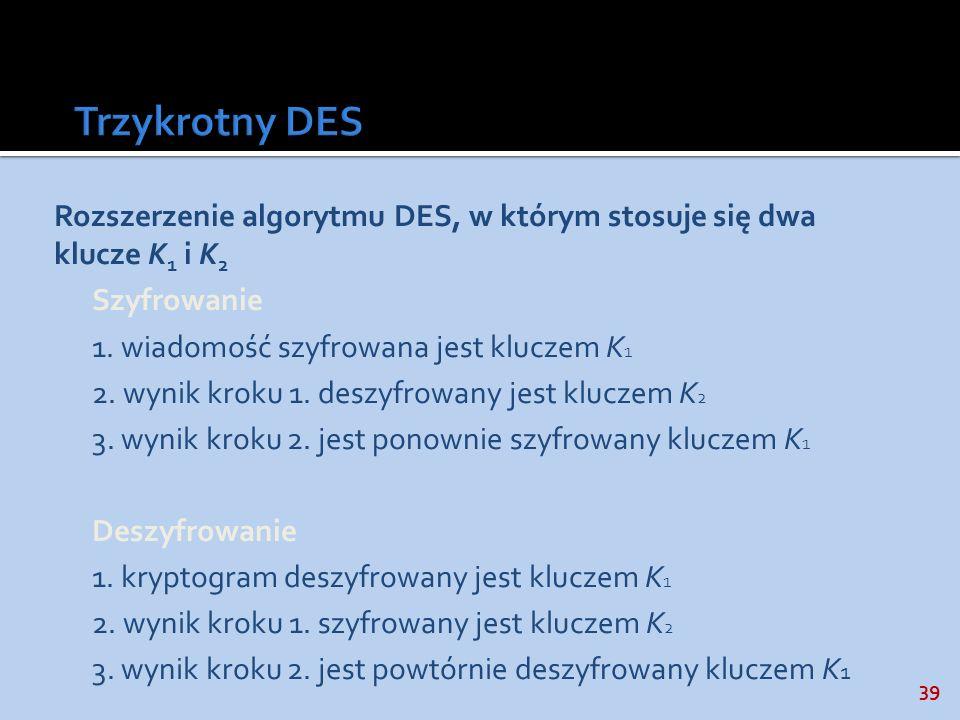 39 Rozszerzenie algorytmu DES, w którym stosuje się dwa klucze K 1 i K 2 Szyfrowanie 1. wiadomość szyfrowana jest kluczem K 1 2. wynik kroku 1. deszyf