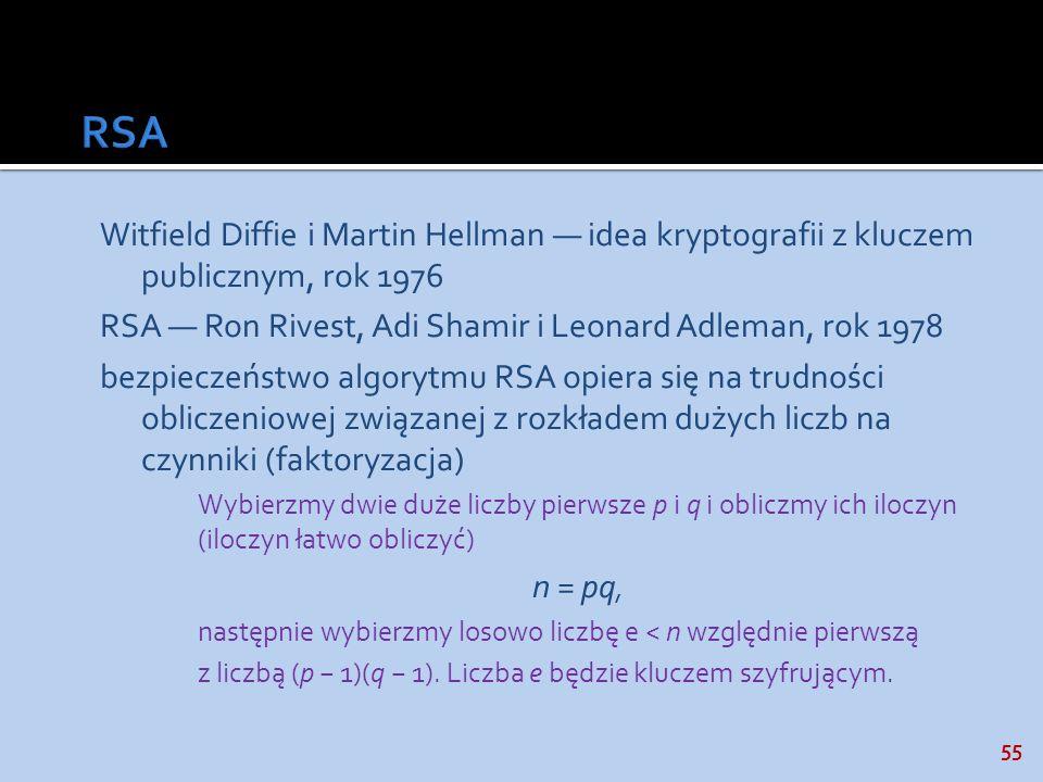 55 Witfield Diffie i Martin Hellman idea kryptografii z kluczem publicznym, rok 1976 RSA Ron Rivest, Adi Shamir i Leonard Adleman, rok 1978 bezpieczeń