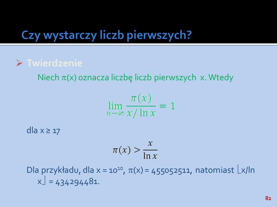 82 Twierdzenie Niech (x) oznacza liczbę liczb pierwszych x. Wtedy dla x 17 Dla przykładu, dla x = 10 10, (x) = 455052511, natomiast x/ln x = 434294481